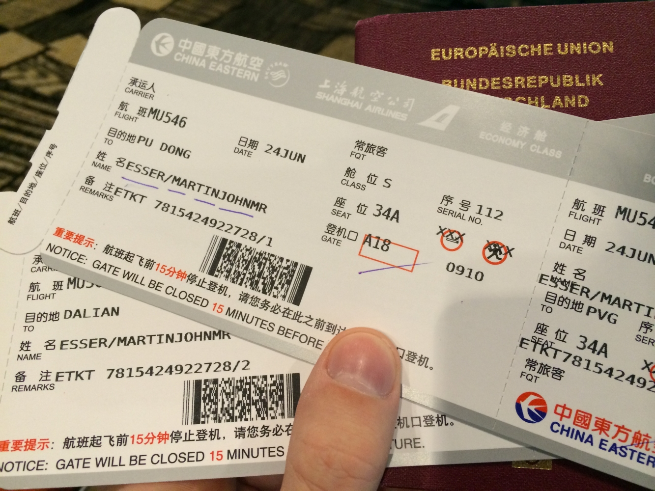 Nach Dalian via Schanghai mit China Eastern Airlines