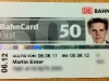 Bahncard First 50. Schick in Silber