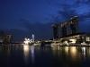 Blick von der Startlinie auf das Marina Bay Sands hotel