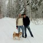 Mit Samson, Gerrit und Daniel im Wald