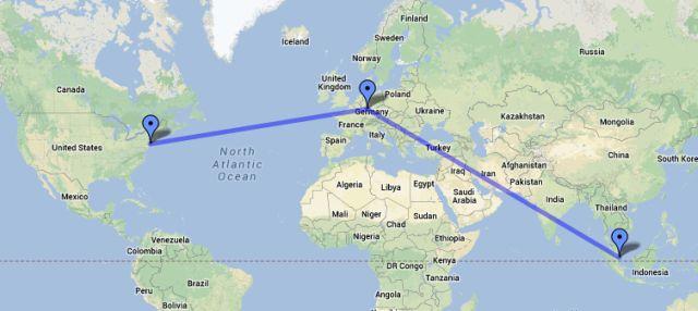 Von New York ueber Frankfurt nach Singapur