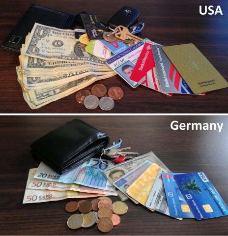 Geldbeutel und Inhalt USA vs. Deutschland